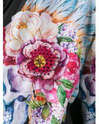Philipp Plein Black Flowers Bomber Jacket
