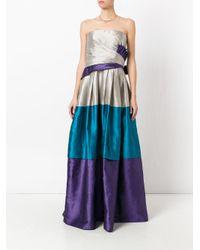 Alberta Ferretti Blue - Strapless Blocked Evening Gown - Women - Silk/linen/flax/polyamide - 42