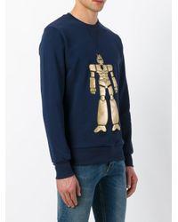 LC23 - Blue Robot Print Sweatshirt for Men - Lyst