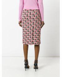 Prada Pink - Floral Print Skirt - Women - Polyamide/spandex/elastane - 40