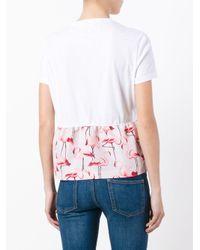 RED Valentino White Flamingo Peplum Top