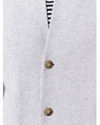 Eleventy - Gray Ribbed Collar Cardigan for Men - Lyst