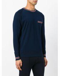Moncler - Blue - Stripe Trim Sweater - Men - Cotton - Xl for Men - Lyst