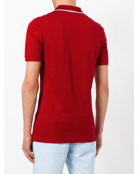 Burberry - Red Contrast Detail Polo Shirt for Men - Lyst
