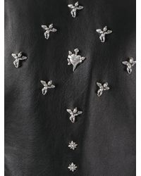 John Richmond - Black Floral Studded Biker Jacket - Lyst
