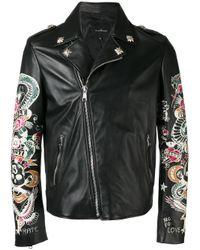 John Richmond Black Tattoo Print Biker Jacket for men