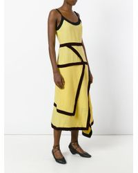 J.W.Anderson Yellow Contrast Trim Flared Dress