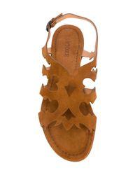 Sartore Brown Laser Cut Details Sandals