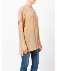 Roberto Collina - Brown Mandarin Neck Shortsleeved Shirt - Lyst