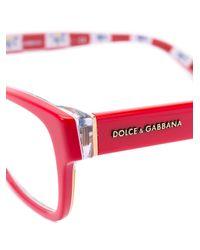 Dolce & Gabbana - Red Rectangular Frame Glasses - Lyst