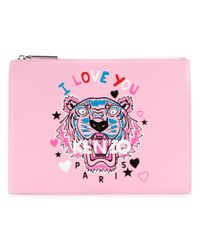 KENZO | Pink 'i Love You' Tiger Clutch | Lyst