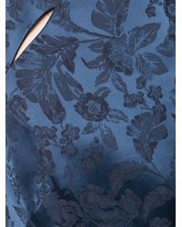 Zac Posen Blue Floral Flared Gown
