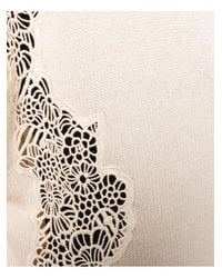 Chloé | Natural Lace Detail V Neck Sweater | Lyst