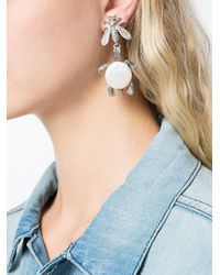 Oscar de la Renta - Gray Critters Drop Clip-on Earrings - Lyst