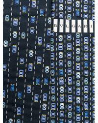 BVLGARI | Blue Car Print Tie for Men | Lyst