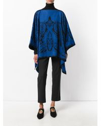 Etro Blue Cashmere Embroidered Knitted Cape