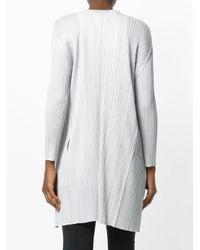 Pleats Please Issey Miyake Gray Pleated Lightweight Coat