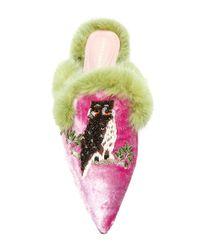 Alberta Ferretti Multicolor Embroidered Mules