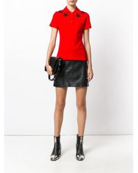Givenchy   Red Star Appliqué Polo Shirt   Lyst