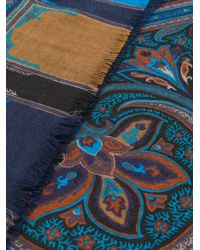 Etro - Blue Paisley Print Scarf for Men - Lyst
