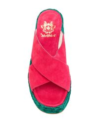 Mr & Mrs Italy Pink Cross-over Wedge Sandals