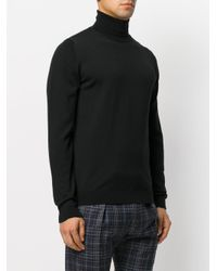 Roberto Collina - Black Knitted Roll-neck Sweater for Men - Lyst