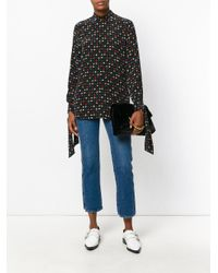 Equipment Black Floral Embroidered Blouse