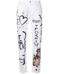 Dolce & Gabbana White Doodle Print Straight Leg Jeans