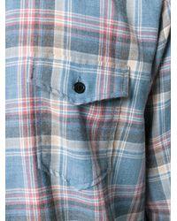 Saint Laurent - Blue Rinse Plaid Narrow Collar Shirt for Men - Lyst