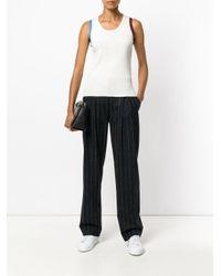 Calvin Klein - White Striped Detailing Knitted Tank - Lyst
