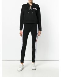 Fila Black Sweatshirt With Lace-up Neckline
