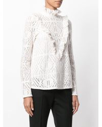 See By Chloé - White Ruffled Yoke Peasant Blouse - Lyst