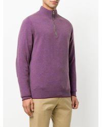 N.Peal Cashmere Purple The Carnaby Half Zip Cashmere Jumper for men