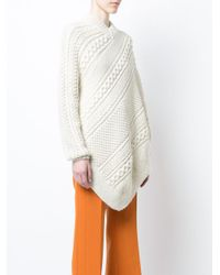 Rosie Assoulin - Multicolor Asymmetrical Knitted Cape Sweater - Lyst