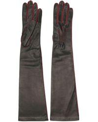 Manokhi Black Contrast Stitching Gloves