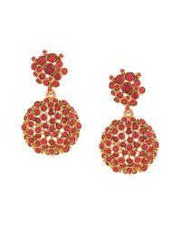 Oscar de la Renta Metallic Jeweled Flower Drop Earrings