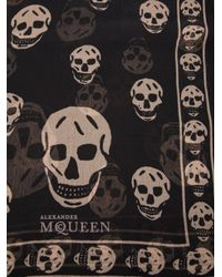 Alexander McQueen Black Skull Print Scarf