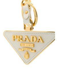 Prada ロゴ キーホルダー Metallic