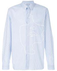 Neil Barrett Blue Siouxsie Print Striped Shirt for men