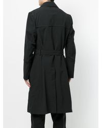 Y-3 - Black Slim Fit Double Breasted Coat for Men - Lyst