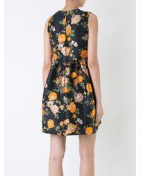 MSGM Black Floral Print Jacquard Dress