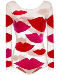 Body con aplique de labios Alexia Hentsch de color Red