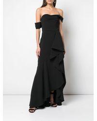 Vestido de fiesta drapeado con hombros descubiertos Marchesa notte de color Black