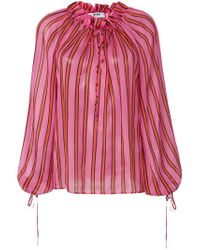 MSGM Pink Billowing Striped Blouse