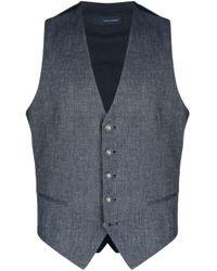 Tagliatore Blue Single-breasted Waistcoat for men