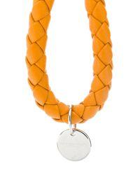 Porte-clés en cuir tressé Bottega Veneta en coloris Orange
