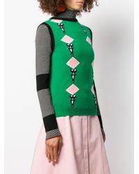 Pull en maille intarsia Marni en coloris Green
