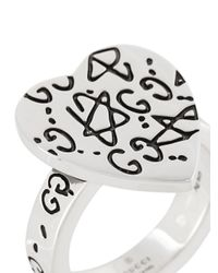 Gucci - Metallic Ghost Heart Ring - Lyst