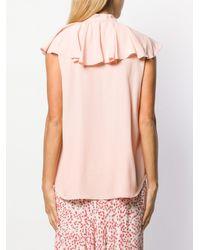 Boutique Moschino ラッフル クレープブラウス Pink