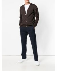 Zanone Brown V-neck Cardigan for men